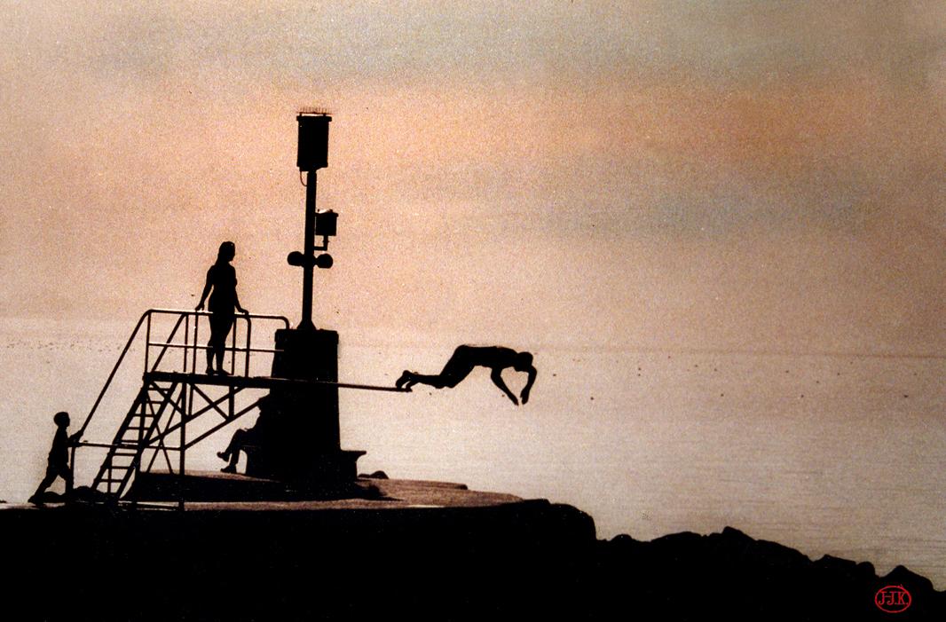 annuaire photographes suisse romande, le bain des hommes à la tour de peilz, photo peinte - http://www.jjkphoto.ch - jjk de Genève 1203